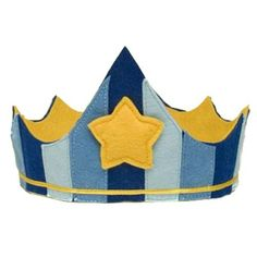 Our Blue Felt Crown features blue strips and gold trim, topped with a gold star. Perfect for a birthday crown or just everyday dress-up play! An elastic back allows plenty of room to fit different siz