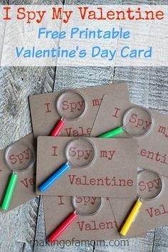 I Spy My Valentine, free printable DIY Valentine idea.