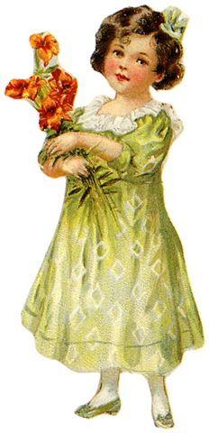 vintage-children-clip-art-little-gilr-green-dress-flower-bouquet.jpg (232×480)