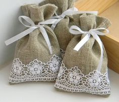 burlap bag with lace ribbon trim