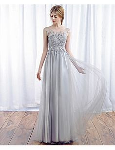 29b044eab6a   99.99  A-Line Illusion Neck Floor Length Tulle Prom   Formal Evening Dress  with Appliques by TS Couture®   Beautiful Back