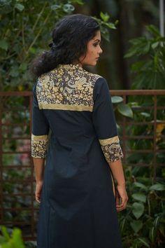 Classic black kurta with kalamkari yoke edged with stitching detail strip THE KALAMKARI STORY Pure Cotton Hand block printed Vegetable dyes