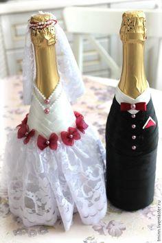 """Купить Свадебные бутылки """"Сладкая парочка"""" - черно-белый, свадьба, свадебные аксессуары, свадебные бутылки"""