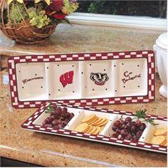 Wisconsin Badgers Ceramic Relish Tray Serving Dish
