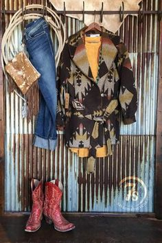The {new} Kanorado wrap jacket with those subtle mustard and rust hues has got us fallin' in love at first sight!! Add turquoise ~ faux suede & fringe... be still my heart. Cowgirl style. Rodeo fashion. Women's Western Wear. Ranch style. Boho cowgirl.