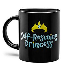 Self-Rescuing Princess Mug | ThinkGeek $9.99 - there's a matching tee shirt, sizes up to 3 x as well!!