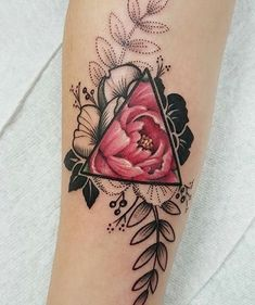 Beautiful Flower Triangle Tattoo | Venice Tattoo Art Designs