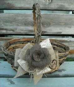 Custom Order For Sadie - 3 Personalized Flower Girl Baskets - Burlap And Lace Wedding Baskets