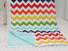 "Minky baby blanket- 30"" X 36"" -Chevron minky baby blanket- Riley Blake's rainbow chevron minky baby blanket- ready to ship"