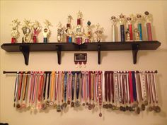 Medal and trophy display - seriously like the bar for hanging medals
