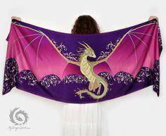 Purple silk scarf with a dragon wings  Mystical by MyDragonSpirit