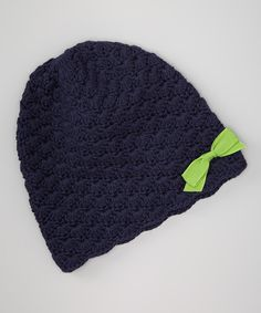 Take a look at this Loralin Design Navy & Lime Crocheted Bow Beanie on zulily today!