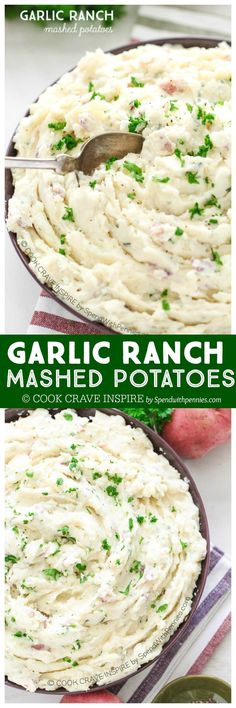 Garlic Ranch Mashed Potatoes are rich and creamy and totally full of flavor! This comforting side dish can easily be made ahead of time and heated or kept warm in the oven! by /spendpennies/ Potato Dishes, Food Dishes, Vegetable Side Dishes, Vegetable Recipes, Ranch Mashed Potatoes, Cheesy Potatoes, Baked Potatoes, Healthy Cooking, Cooking Recipes