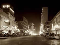 Night view, downtown section. Elm Street. Theater Row in Dallas, Texas....January 1942