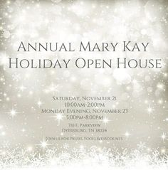 Open invitation for everyone to join our Annual Mary Kay Holiday Open House!!!!  Great opportunity to take advantage of the discounts offered to purchase items not just for yourself but to start or finish up your Christmas shopping for family, friends, teachers , etc!!!!  Several amazing product to choose from to use as stocking stuffers.  Don't forget the door prize drawings!!!!!!  Can't wait to see you there. #marykay_247  Mary Kay Independent Consultant  www.marykay.com/dscott1975