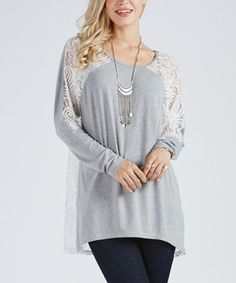 Look at this #zulilyfind! Heather Gray & White Lace-Accent Sweater - Plus Too #zulilyfinds