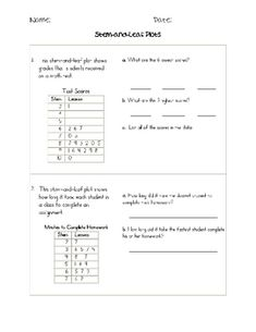 This is a practice worksheet to help with stem and leaf plots.  This is designed to be a supplement to teaching stem and leaf plots.  I used this as homework practice and then changed the questions to use as a mini-assessment.