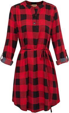 Women Roll Up Sleeve Casual Tunic Mini Plaid T Shirt Dresses / Vintage Christmas Dress. Buy products related to vintage christmas dress, 1950 christmas dress, vintage christmas fashion, dress christmas outfit and christmas dress. Plus Size Christmas Dresses, Vintage Christmas Dress, Plaid Dress, Shirt Dress, Summer Dresses Online, Dress Online, Queen Fashion, Mom Fashion, Fashion Women