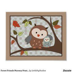 Forest Friends Nursery Print - Owls
