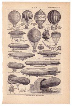 1924 Vintage AVIATION / AERONAUTIQUE Illustration via Etsy