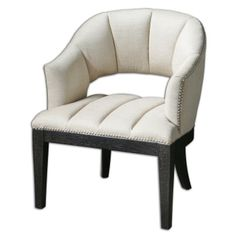 Uttermost Bovary White Tufted Armchair