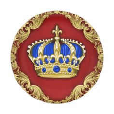 Prince Crown Red Blue Prince Baby Shower 7 Inch Paper Plate