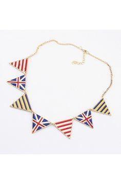 National Flag Print triangular  Pendant Necklace $11.00