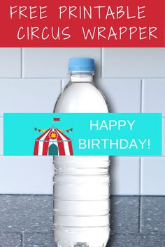 Use this free printable circus water bottle label to help decorate your circus birthday party. It is a cheap and easy way to make your water bottle pretty and also a good circus food table idea for you. Simply cut and print to make a circus birthday party diy. Be sure to save this circus water bottle wrapper for later!  Take a look at our blog, VanahLynn.com to see zebra birthday cakes and carousel smash cake ideas.