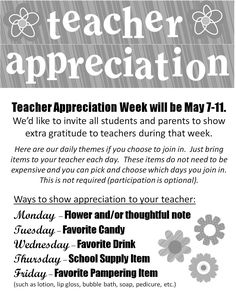 Great idea for celebrating a teacher everyday during Teacher Appreciation week