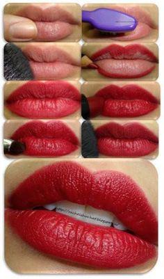 The first thing to do is the most important: Prep your lip. You can have a gorgeous red lipstick on, but if your skin is peeling, it will look horrible.    1) Apply a lip balm and massage your lips with your fingers.    2) A good way to get rid of any extra skin on your lips is to rub them with a very clean toothbrush.    3) Use a translucent powder as a lip primer, this will act as a base for the lipstick.    4) Line your lips carefully with a red lip pencil.    (continued in comment…