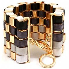 Rae's Black Ribbon Wrapped Gold Chain Link Bracelet - Only $49.95 — Fantasy Jewelry Box