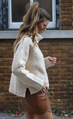 perfect shopping day outfit! brown leather skirt and oversized white turtleneck