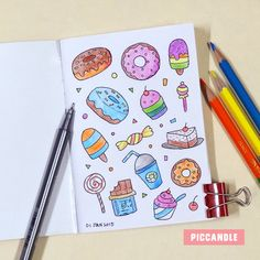 Kawaii journal art with daughters Kawaii Drawings, Doodle Drawings, Easy Drawings, Doodle Art, Cupcake Drawing, Bullet Journal Writing, Kawaii Doodles, Bullet Journal Inspiration, Art Sketches