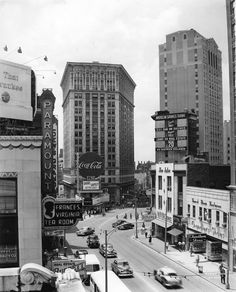 1950s view of the intersection at Peachtree, Pryor and Forsyth Streets.