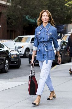 Double denim. Vogue'