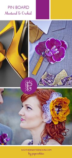 Mustard Yellow and Orchid Purple Wedding Inspiration by Paperwhites, a stationery boutique--very cool and mod color combination