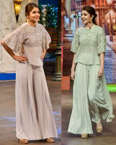 Anushka Sharma looked gorgeous in a dusty grey sequinned top featuring Kimono sleeves that she paired with matching flared pants by Ridhi Mehra Dress Indian Style, Indian Dresses, Indian Wedding Outfits, Indian Outfits, Sharara Designs, Organizer Box, Pakistani Formal Dresses, Afghan Dresses, Indian Designer Suits