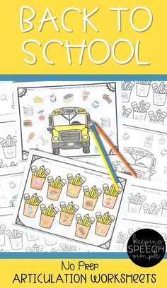 Are you prepping for back to school? Just print these worksheets and you are ready to go! Your students will love these Back to School themed worksheets. All 63 worksheets contain pictures for non-readers. Word lists are also provided on the bottom of each sheet. Targets include: K, G, R, L, CH, SH, TH, S, V, J, R, L blends, R blends, S blends and vocalic ER. Most sounds include initial, medial and final word positions. Worksheets are perfect for therapy sessions and home practice.
