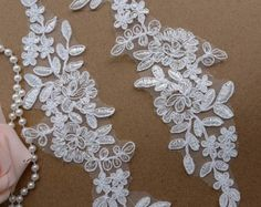 Venice Applique Pair in ivory for Bridal, Wedding Gown, Bridesmaids Dress  Listing is for one Pair  Measure 9.84 x 5.12 (25 cm x 13 cm)  Use for neckline, bridal headpiece, wedding accessories, gifts, bags decoration, etc....., you can enjoy the process of DIY, enjoy your beautiful life........  * Wholesale acceptable!  My shop link:  http://www.etsy.com/shop/lacelindsay  If you have any questions please message me. APPLIQUES: https://www.etsy.com/shop/lacelindsay?section_id=16428894  Thank…