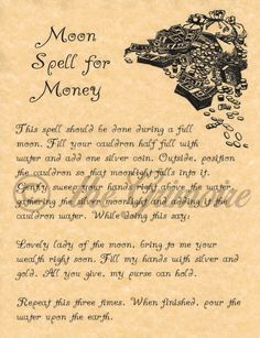 Book of Shadows Page - Moon Spell for Money - Real Witchcraft Spell - Fast Ship