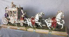 Huge German Volkstedt Dresden Lace Carriage Coach & Horses Group Figurine