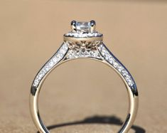 14k White gold - Diamond Engagement Ring - Halo - Pave - Dainty - Weddings - Luxury- Brides - Bp009