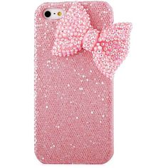 Mavis's Diary Bling Handmade 3D Stylish Big Bow Shining Back Case... ($3.99) ❤ liked on Polyvore featuring accessories, tech accessories and phone case