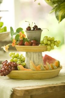 Summer Party Time! Make a tablescape using garden pots to serve up a summer buffet.
