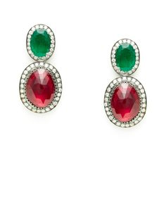 Emerald & Ruby Double Oval Drop Earrings by Amrapali at Gilt