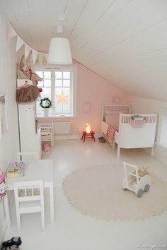 Fresh, white farmhouse toddler room