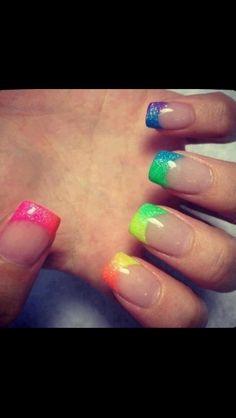 Rainbow gel extension nails
