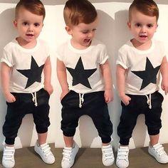 Summer kids clothes sets boy Start-shirt+ Harem Pants Suit clothing set Clothes baby boy sport suits children boys clothes