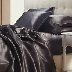 new charcoal grey satin sheet set queen size silk feel grand luxury gray bedding