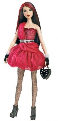 Brinquedo Mattel Barbie All Dolled Up Stardoll Brunette Doll Red Dress #Brinquedo #Mattel